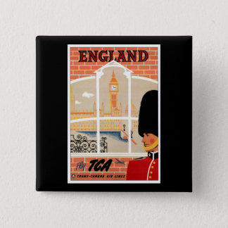 Destination: England Travel Poster Square Button