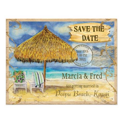 Destination Paradise, Tropical Beach Save the Date Invitations
