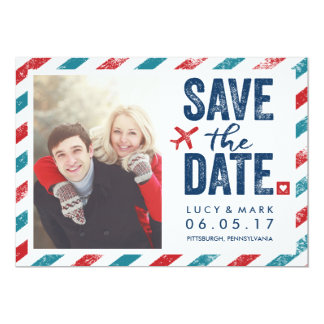 Destination Postal Theme Wedding | Save the Date Card