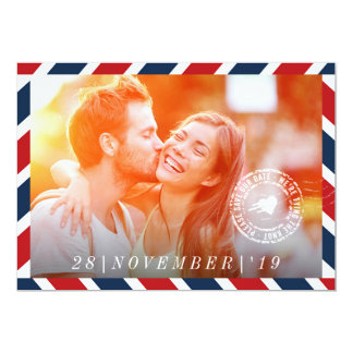 Destination Save The Date Airmail Post Photo Card 13 Cm X 18 Cm Invitation Card