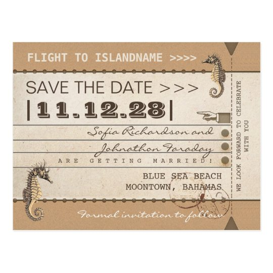 destination save the date seahorses postcards
