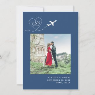 Destination Wedding Blue Airplane Monogram Picture Save The Date
