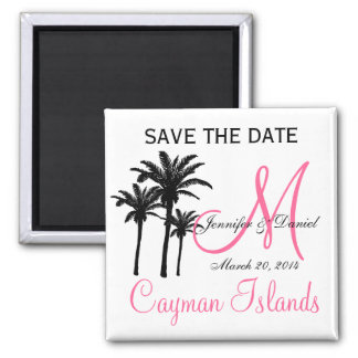 Destination Wedding Monogram Save the Date Magnets