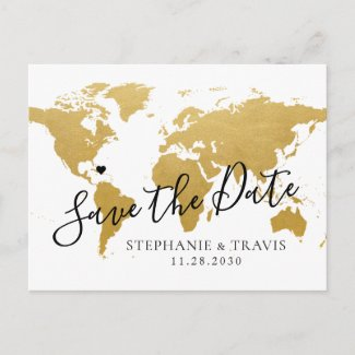 Destination Wedding Save the Date Gold Map Announcement Postcard
