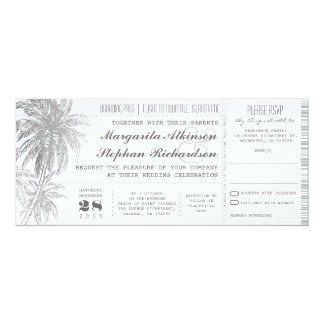 destination wedding tickets 10 cm x 24 cm invitation card