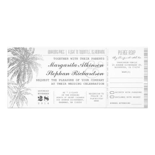 destination wedding tickets invitation