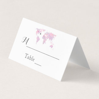 Destination Wedding Travel Watercolor World Map Place Card