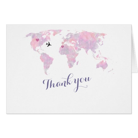 Destination Wedding Watercolor World Map THANK YOU Card