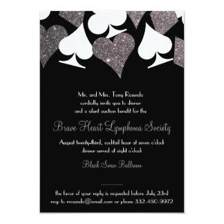 Destiny Las Vegas Casino Party Faux Silver Glitter 13 Cm X 18 Cm Invitation Card