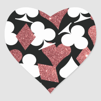 Destiny Las Vegas Heart Sticker Rose Gold Glitter