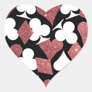 Destiny Las Vegas Heart Sticker Rose Gold Glitter
