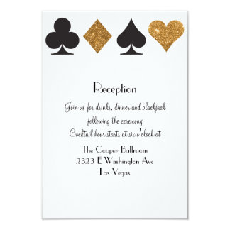Destiny Las Vegas Reception Faux Gold Glitter Card