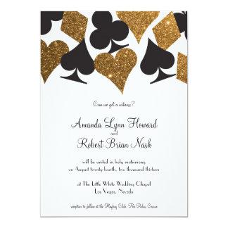 """Destiny Las Vegas Wedding Invite Faux Gold Glitter 5"""" X 7"""" Invitation Card"""