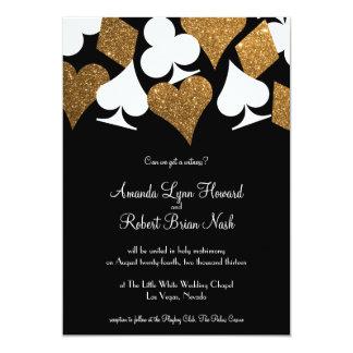 Destiny Las Vegas Wedding Invite Faux Gold Glitter