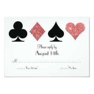 Destiny Las Vegas Wedding reply rose gold glitter 9 Cm X 13 Cm Invitation Card