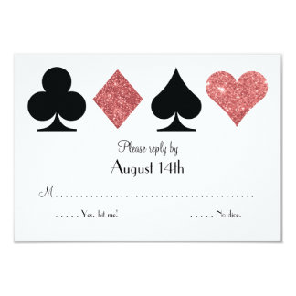 Destiny Las Vegas Wedding reply rose gold glitter Card