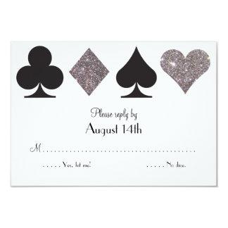 Destiny LasVegas Wedding reply faux silver glitter 9 Cm X 13 Cm Invitation Card