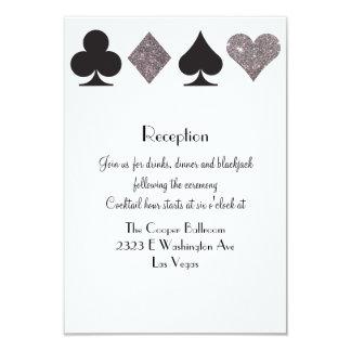 Destiny Vegas Reception Faux Silver Glitter 9 Cm X 13 Cm Invitation Card