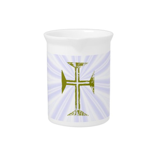 Destroyed Look Faux Gold Cross White Streaks Pitcher