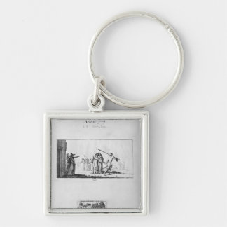 Destruction of Port-Royal des Champs Silver-Colored Square Key Ring