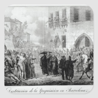 Destruction of the Inquisition in Barcelona Square Sticker