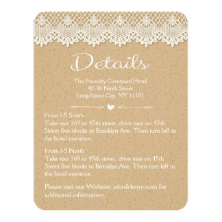 Detail Direction Country Lace Brown & White Rustic 11 Cm X 14 Cm Invitation Card