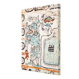 Detail from a Mayan codex Canvas Print