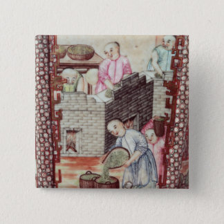 Detail from a vase depicting drying tea 15 cm square badge