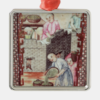 Detail from a vase depicting drying tea christmas ornament