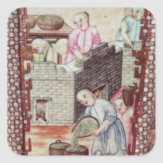 Detail from a vase depicting drying tea square sticker