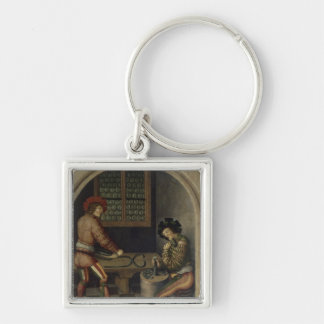 Detail from Mining Landscape, 1521 Silver-Colored Square Key Ring
