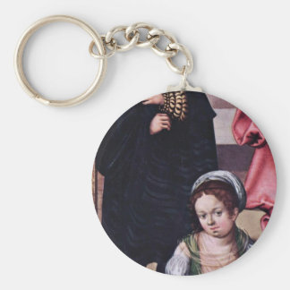 Detail From The Holy Family  By Cranach D. Ä. Luca Basic Round Button Key Ring