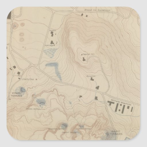 Detail Map of Mammoth Hot Springs Sticker