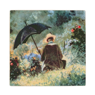 Detail of a Gentleman reading in a garden Wood Coaster