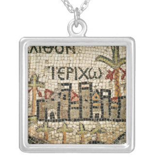 Detail of a map of Jericho Silver Plated Necklace