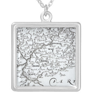 Detail of a map of the county of silver plated necklace