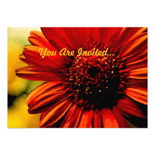 Detail of a Red Flower -- All Purpose Custom Invitations