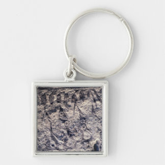 Detail of a ritual procession Silver-Colored square key ring