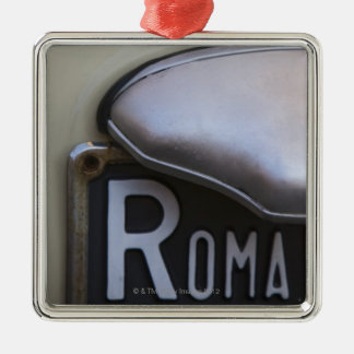 detail of a Roma number plate on a small Italian Christmas Ornament