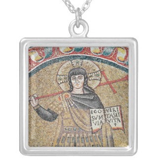 Detail of a Warrior Christ Silver Plated Necklace