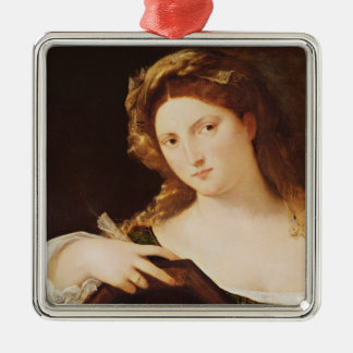 Detail of Allegory of Vanity Silver-Colored Square Decoration
