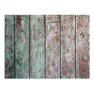 Detail of an old  vertical wooden fence postcard