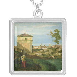 Detail of 'Capriccio with Motifs from Padua' Silver Plated Necklace