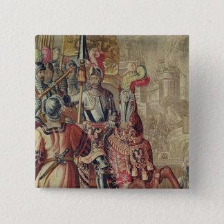 Detail of Charles V  on horseback 15 Cm Square Badge