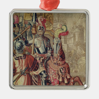 Detail of Charles V  on horseback Silver-Colored Square Decoration