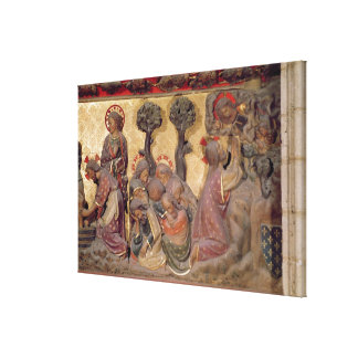 Detail of Christ washing the feet of the Apostles Stretched Canvas Print