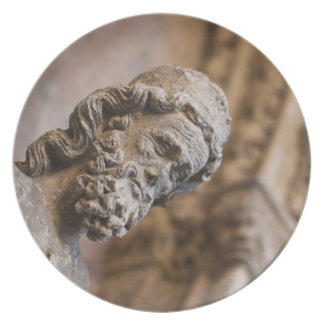 Detail of cloisters Patriarch Zacarias statue Dinner Plate
