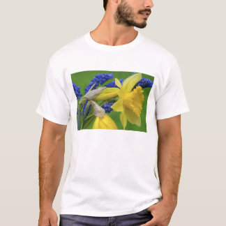 Detail of daffodil and hyacinth flowers. Credit T-Shirt