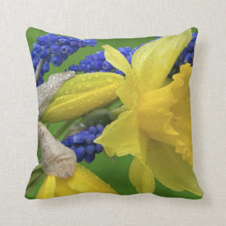 Detail of daffodil and hyacinth flowers. Credit Throw Pillow