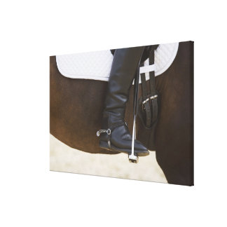 detail of female dressage rider on horse canvas print